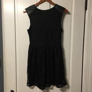 one clothing Dresses - Lace black faux leather dress